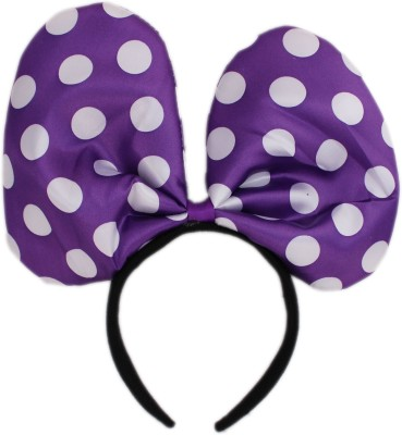 Tootpado Big Minnie Mouse Style Polka Dot Head Bow Hair Bands For Parties. Crown & Tiara (Purple, Pack Of 1)