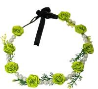 Muren Pearls & 7 Flowers-lg Crown & Tiara (Green, Pack Of 1)