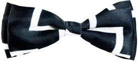 Blacksmith Black And White Zigzagdesign Bow Geometric Print Men's Tie