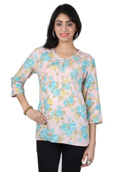 Vastrasutra Casual 3/4 Sleeve Floral Print Women's Top