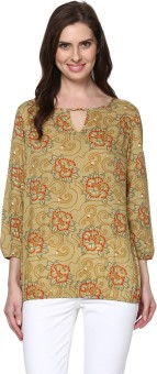 Thegudlook Casual 3/4 Sleeve Floral Print Women's Top