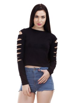 Dracht Casual Full Sleeve Solid Women's Black Top