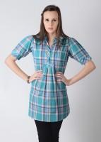 Noi Casual Short Sleeve Checkered Women's Top