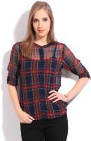 Allen Solly Casual Rollup Sleeve Checkered Women Top