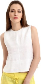 Yell Casual Sleeveless Solid Women's White Top