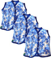 SRIM Casual Sleeveless Printed, Floral Print Baby Girl's Blue, White Top