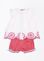 NautiNati Casual Short Sleeve Solid Baby Girl's White, Pink Top