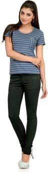 Yepme Casual Short Sleeve Striped Women's Top