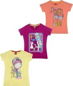 Frapper Casual Short Sleeve Printed Girl's Orange, Pink, Yellow Top