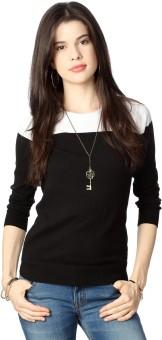 People Casual Full Sleeve Solid Women's Black Top