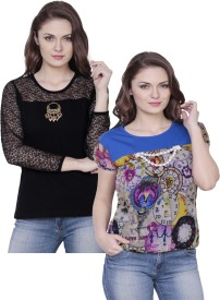 Fashionable Casual Short Sleeve Solid Women's Black, Blue Top