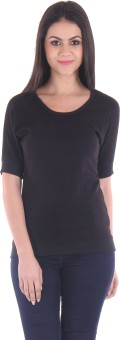 SS Casual Short Sleeve Solid Women's Black Top