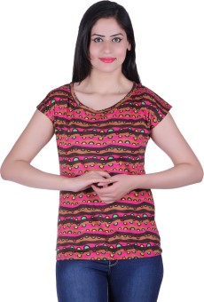 Belly Bottom Casual Short Sleeve Floral Print Women's Top