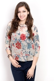 Pique Republic Casual 34 Sleeve Floral Print Women Top