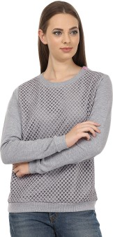 United Colors Of Benetton Casual Full Sleeve Solid Women's Grey Top