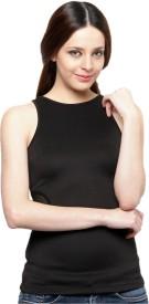XnY Casual Sleeveless Solid Women's Black Top