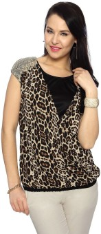Annabelle By Pantaloons Casual Short Sleeve Animal Print Women's Top