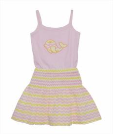 PRANAVA Party Sleeveless Self Design Girl's Pink Top