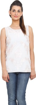 Global Colours Casual Sleeveless Embroidered Women's Top