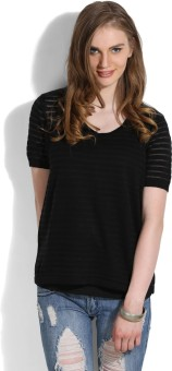 United Colors Of Benetton Casual Short Sleeve Striped Women's Black Top