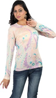 Casa Pashma Party Full Sleeve Floral Print Women's Top
