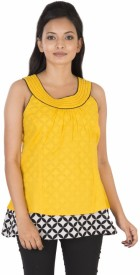 Kiran Udyog Casual Sleeveless Solid Women's Yellow Top