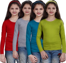 Sinimini Casual Full Sleeve Solid Girl's Multicolor Top