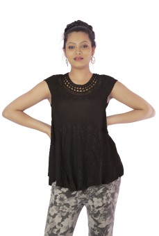 Shop Rajasthan Casual, Lounge Wear Short Sleeve Self Design Women's Top