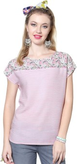 People Casual Short Sleeve Striped, Floral Print Women's Pink Top