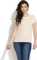 Texture Festive Short Sleeve Self Design Women's Top