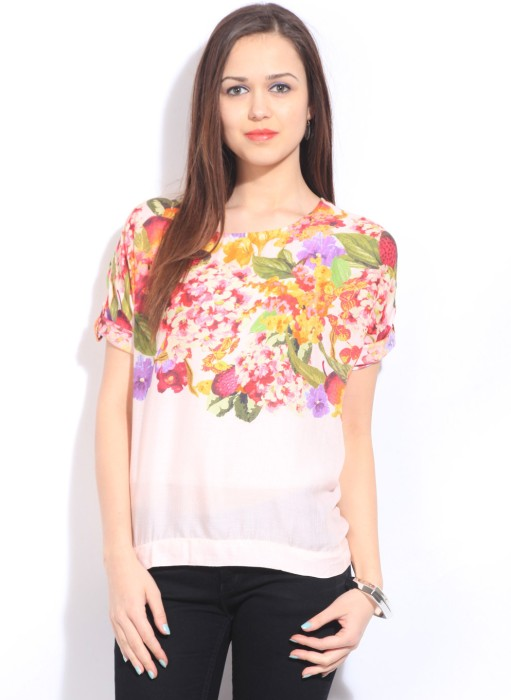 Arrow Casual Roll-up Sleeve Floral Print Women's Top