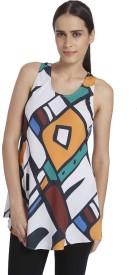 Vero Moda Casual Sleeveless Printed Women's White Top