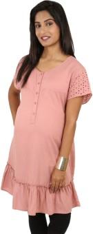 Kriti Western Maternity Casual Short Sleeve Self Design Women's Top