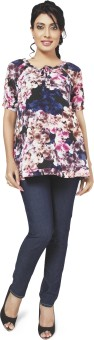 Nine Maternity Wear Party Short Sleeve Floral Print Women's Top