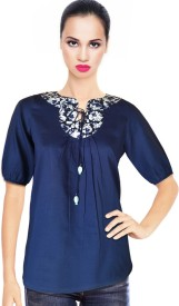 BeforeAfter Casual 3/4 Sleeve Solid Women's Blue Top