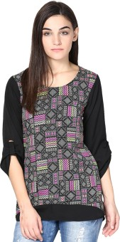 Abiti Bella Casual Roll-up Sleeve Geometric Print Women's Top