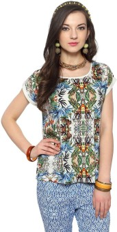 Akkriti By Pantaloons Casual Short Sleeve Printed Women's Top