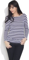 Chemistry Casual Roll-up Sleeve Striped Women's Top