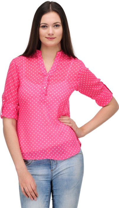 Stilestreet Casual Roll-up Sleeve Polka Print Women's Top