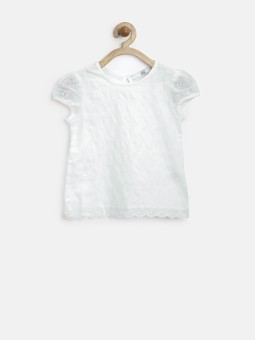 Marks & Spencer Casual Short Sleeve Solid Baby Girl's White Top