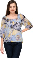 L'mode Casual 3/4 Sleeve Floral Print Women's Top