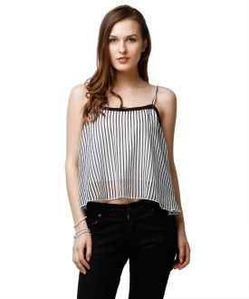 Yepme Casual Sleeveless Striped Women's Top