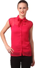 London Off Casual Sleeveless, Short Sleeve Solid Women's Red Top