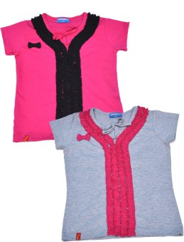 Clever Casual Short Sleeve Solid Baby Girl's Multicolor Top - TOPEJFF2TJ7NFBG7