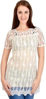 G'n'C Casual, Festive, Party, Wedding Short Sleeve Self Design Women's Top