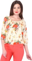 Purys Casual 3/4 Sleeve Floral Print Women's Top