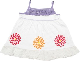 JusCubs Casual Sleeveless Embroidered Baby Girl's White Top