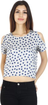20D Casual Short Sleeve Polka Print Women Top