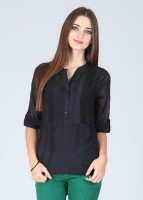 Bronz Casual Roll-up Sleeve Solid Women's Top