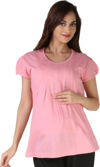 Morph Maternity Casual Puff Sleeve Solid Women's Pink Top